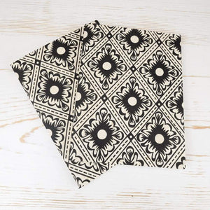 Italian Diamond Mini Notebook Block Printed Notebook Papillon Papers Black Grid