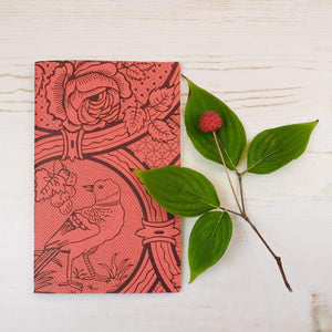Oiseau et Rose Block Printed Notebook Block Printed Notebook Papillon Papers Coral Blank