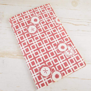 Japanese Camellia Block Printed Notebook Block Printed Notebook Papillon Papers Rose Lines