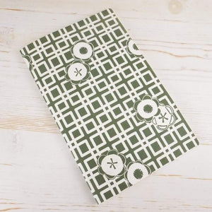 Japanese Camellia Block Printed Notebook Block Printed Notebook Papillon Papers Sage Blank
