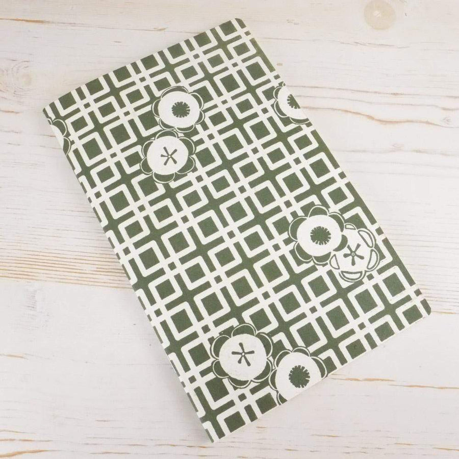 Japanese Camellia Block Printed Notebook Block Printed Notebook Papillon Papers