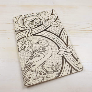 Oiseau et Rose Block Printed Notebook Block Printed Notebook Papillon Papers White Lines