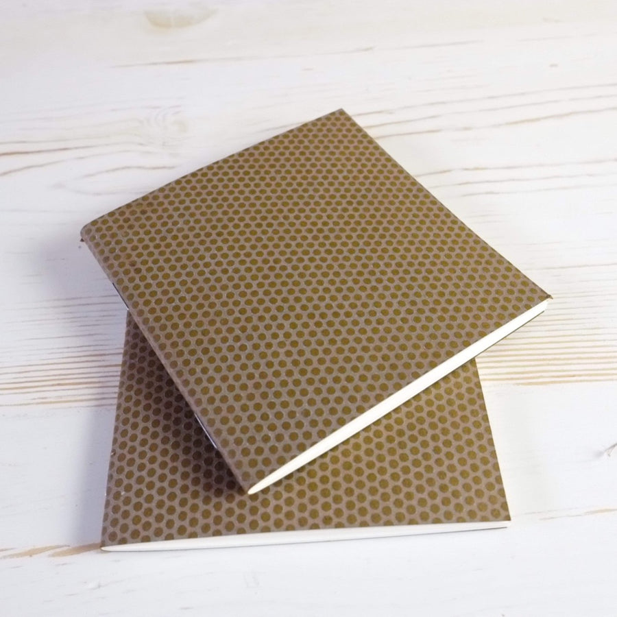 Mini Square Dotted Notebook: Set of 3 Block Printed Notebook Papillon Papers White on Nightingale
