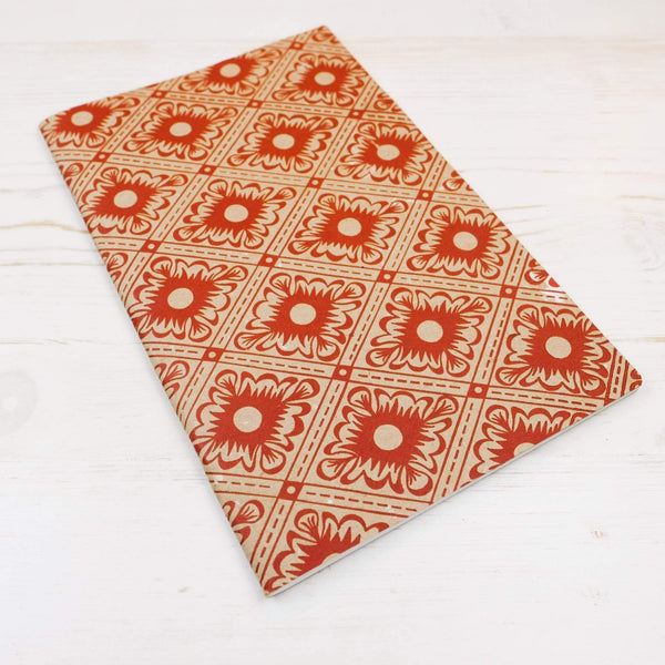 Italian Diamond Letterpress Notebook: Limited Block Printed Notebook Papillon Press No Label Lines Cinnabar on Natural