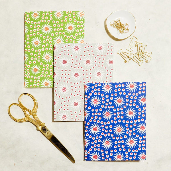French Pinwheel Mini Letterpress Notebook: Set of 3 Block Printed Notebook Papillon Press Grid