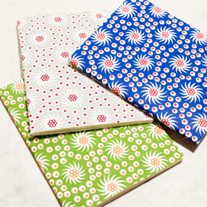 French Pinwheel Mini Letterpress Notebook Block Printed Notebook Papillon Press