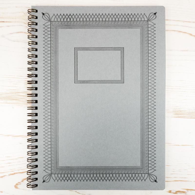 Ornamental Frame Wire Bound Notebook - Large Wire Bound Notebook Papillon Press Gothic in Pumpkin Grid
