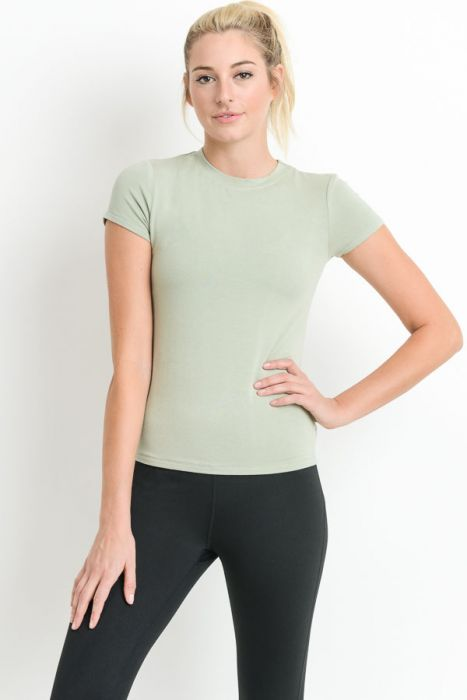 Women's Sage Crew Neck Essential Tee-Tee-Ladies, Lattes, and Lifting