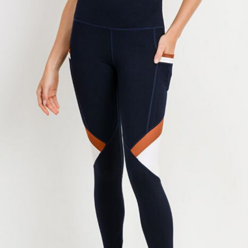 Colorblock Leggings with Pockets-Leggings-Ladies, Lattes, and Lifting