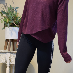 Burgundy Wrap Pullover Sweater-Ladies, Lattes, and Lifting