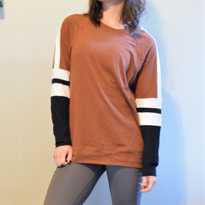 Color Block Pullover Tee-Tee-Ladies, Lattes, and Lifting