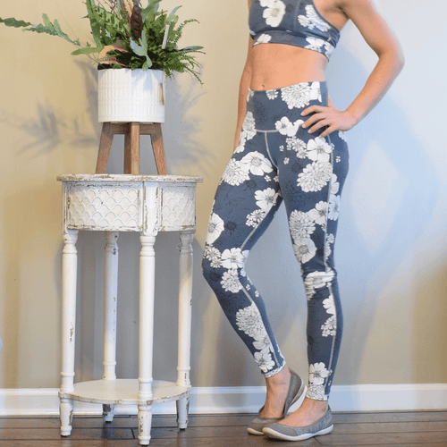 Blue Poppy Floral Printed High Waist Leggings-Leggings-Ladies, Lattes, and Lifting