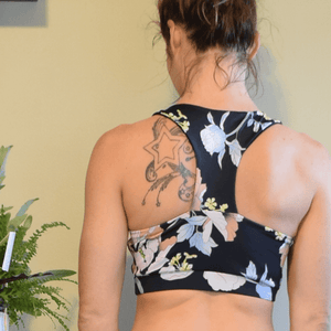 Summer Evening Floral Printed Women's Racerback Sports Bra-Sports Bra-Ladies, Lattes, and Lifting