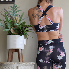 Load image into Gallery viewer, Cross Neck Lily Floral Sports Bra-Ladies, Lattes, and Lifting