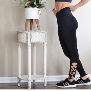 Criss-Cross Detail High Waist Black Legging-Leggings-Ladies, Lattes, and Lifting