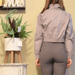 Sleek Cropped Nylon Sports Jacket-Ladies, Lattes, and Lifting
