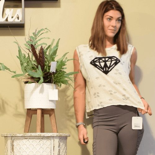 Diamond Cropped Muscle Tank-Ladies, Lattes, and Lifting