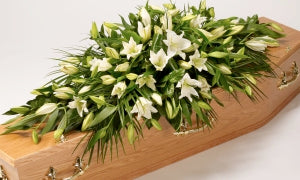 White Oriental Lily Casket Spray