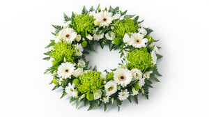 Green and white posy ring.
