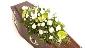 Green and white, Modern casket spray