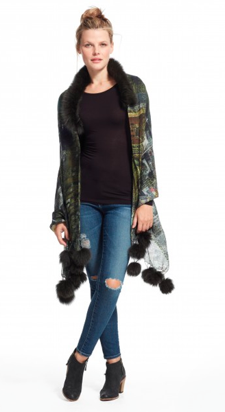 PRINTED SCARF WITH FUR