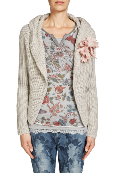HOODED CARDIGAN TWEED LOOK