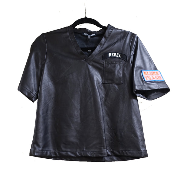 LEATHER TEE WITH PATCHES - STYLE 4