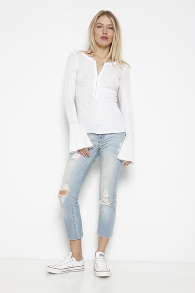 FLARE SLEEVE HENLEY TOP