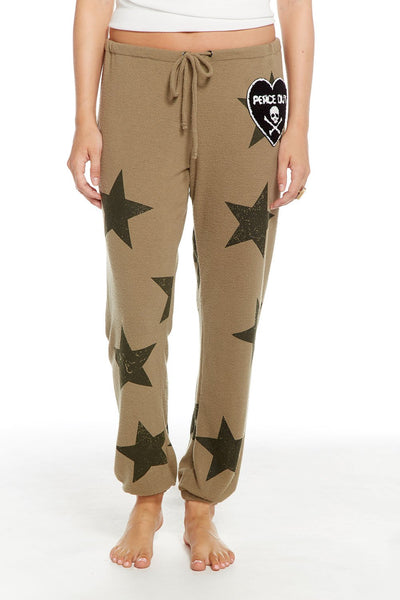 star patch drawstring sweats
