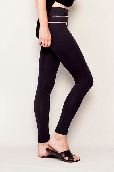 Double Pocket Rose Zipper Legging