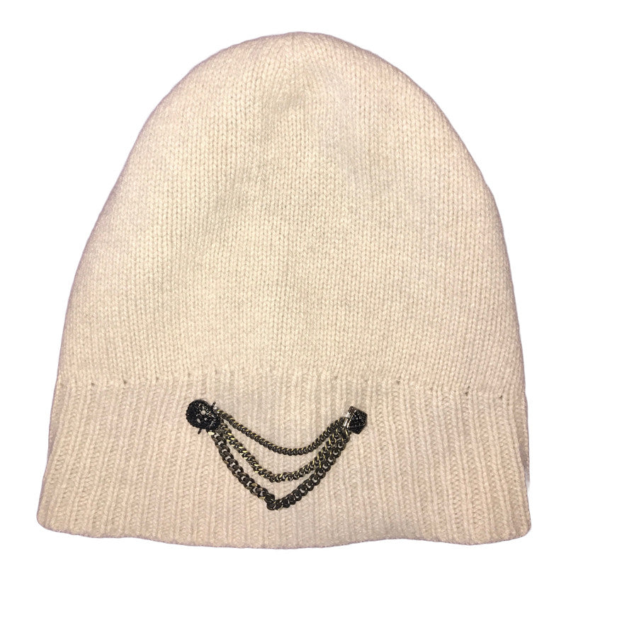 Cashmere Beanie with Chains