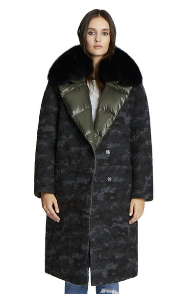 Camo Wool Coat w/ Fox Collar