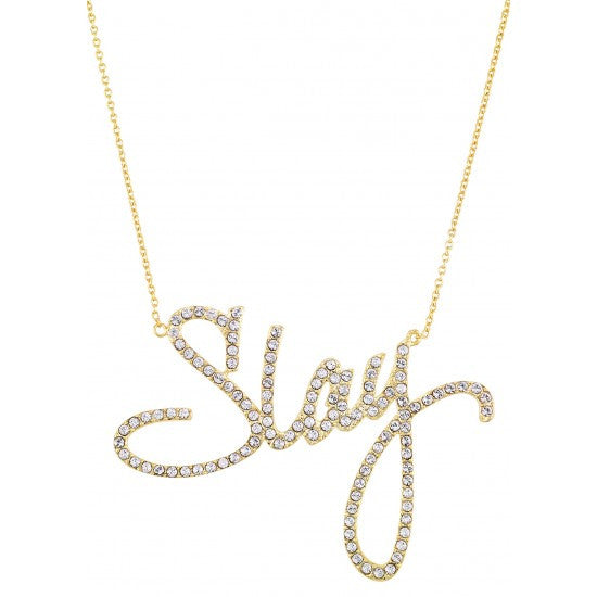 CRYSTAL NAMEPLATE NECKLACE