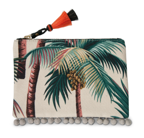 TROPICS SMALL CANVAS AND LEATHER POUCH, NATURAL