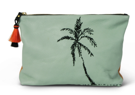 AQUA PALM EMBROIDERED MEDIUM LEATHER CLUTCH