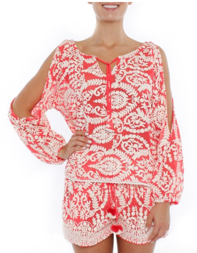 Coral Embroidered Top