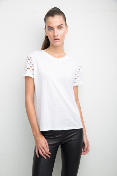 SLIT SLEEVE TEE SHIRT