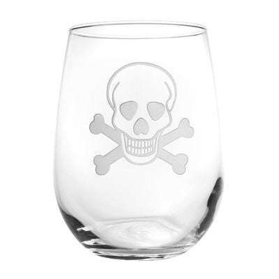 SKULL AND CROSS BONES STEMLESS WINE GLASS