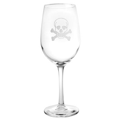 SKULL AND CROSS BONES WINE GLASS
