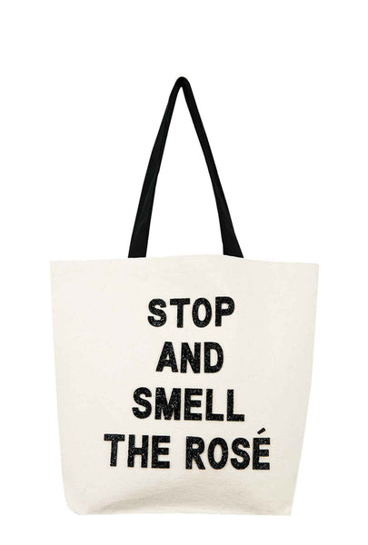 STOP AND SMELL THE ROSÉ CRYSTAL TOTE