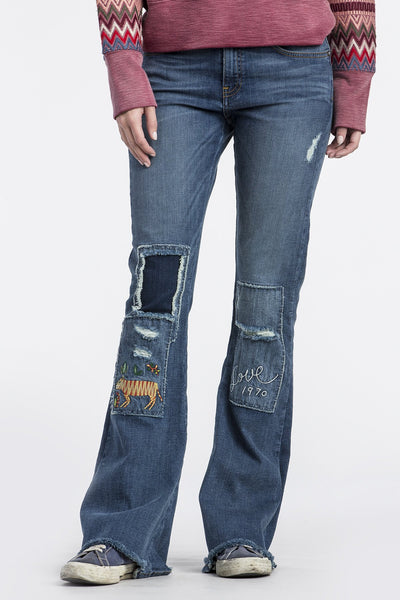 EMBROIDERED FLAIR JEANS