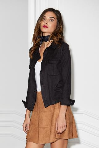 MICRO SUEDE CROPPED BUTTON UP TOP