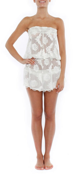 Strapless beaded tunic