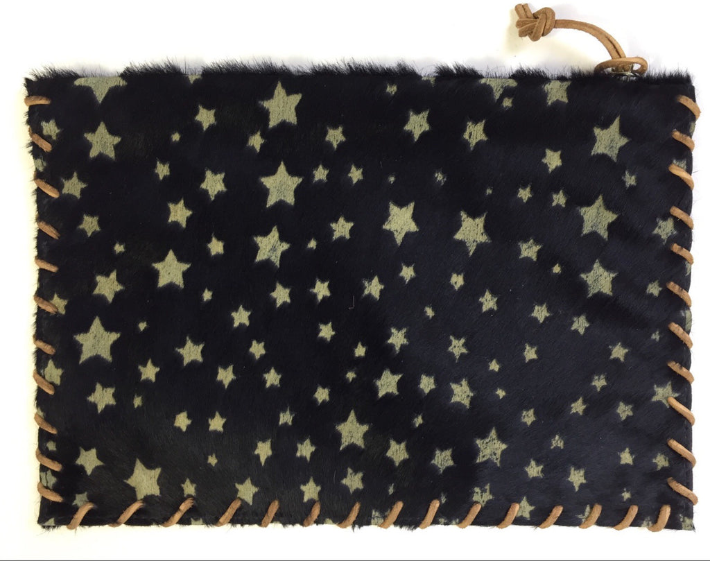 Apache Navy Star Calf Hair Clutch