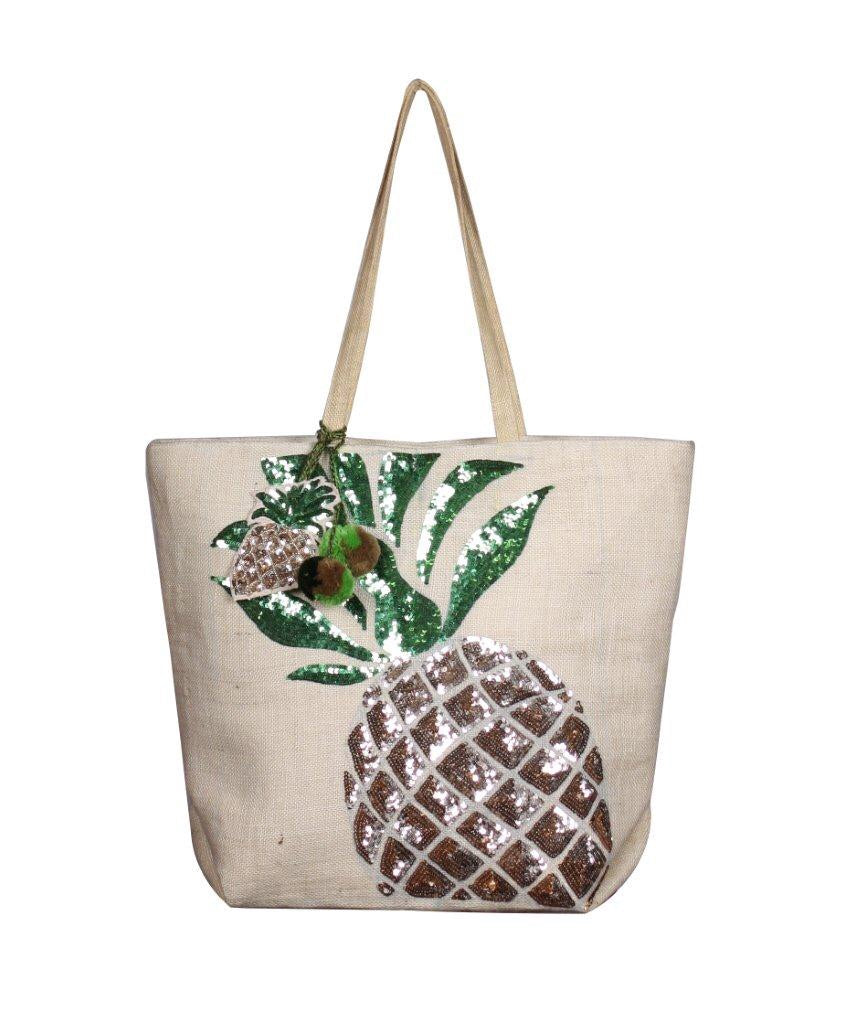 Frosted Pineapple Jute Tote