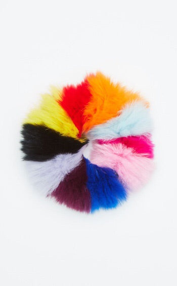 Rainbow Fur Scrunchies