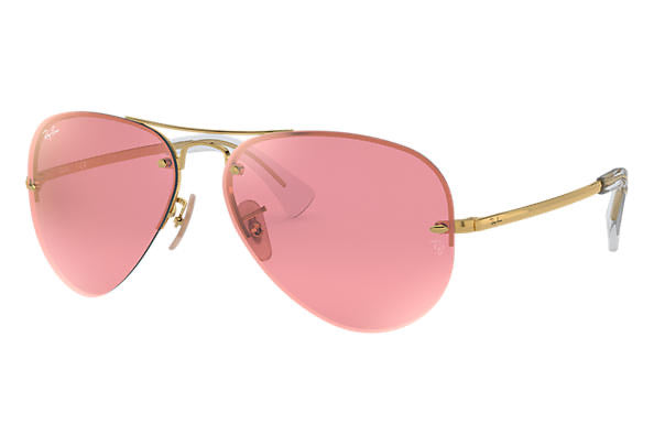 Gold Frame Pink Mirror Aviator
