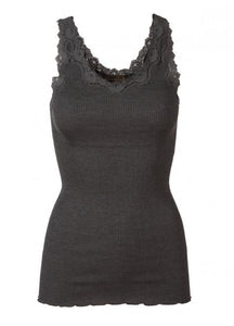 Babette Dark Grey Lace Ribbed Tank