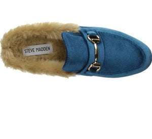 Turquoise Furry Mules