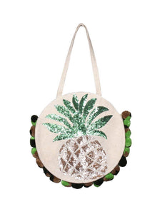 Frosted Pineapple Jute Round Tote